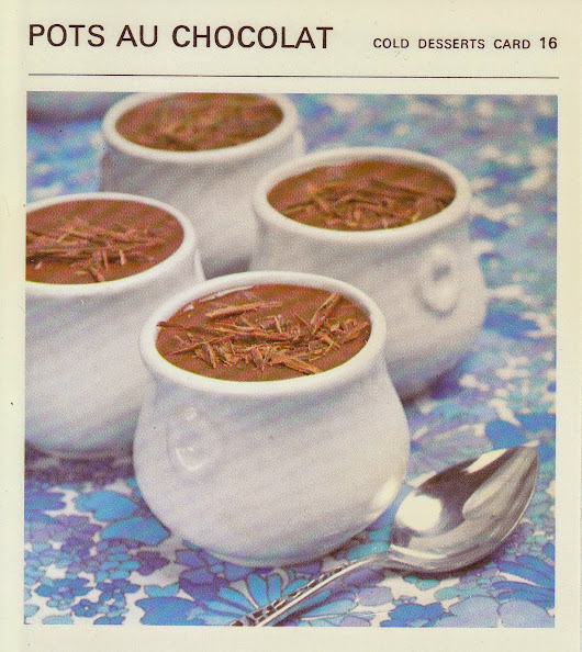 Pots Au Chocolat - 1960's (Marguerite Patten Recipe Card)