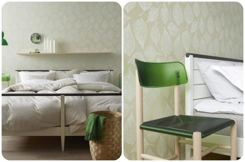 biało-zielona sypialnia