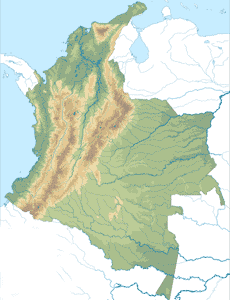 Localización de las principales cordilleras en el mapa físico de Colombia
