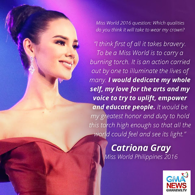 Miss Philippines Catriona Gray's Answer in the Q&A Made Filipinos Believe That She Really Deserved to Win Miss World 2016!