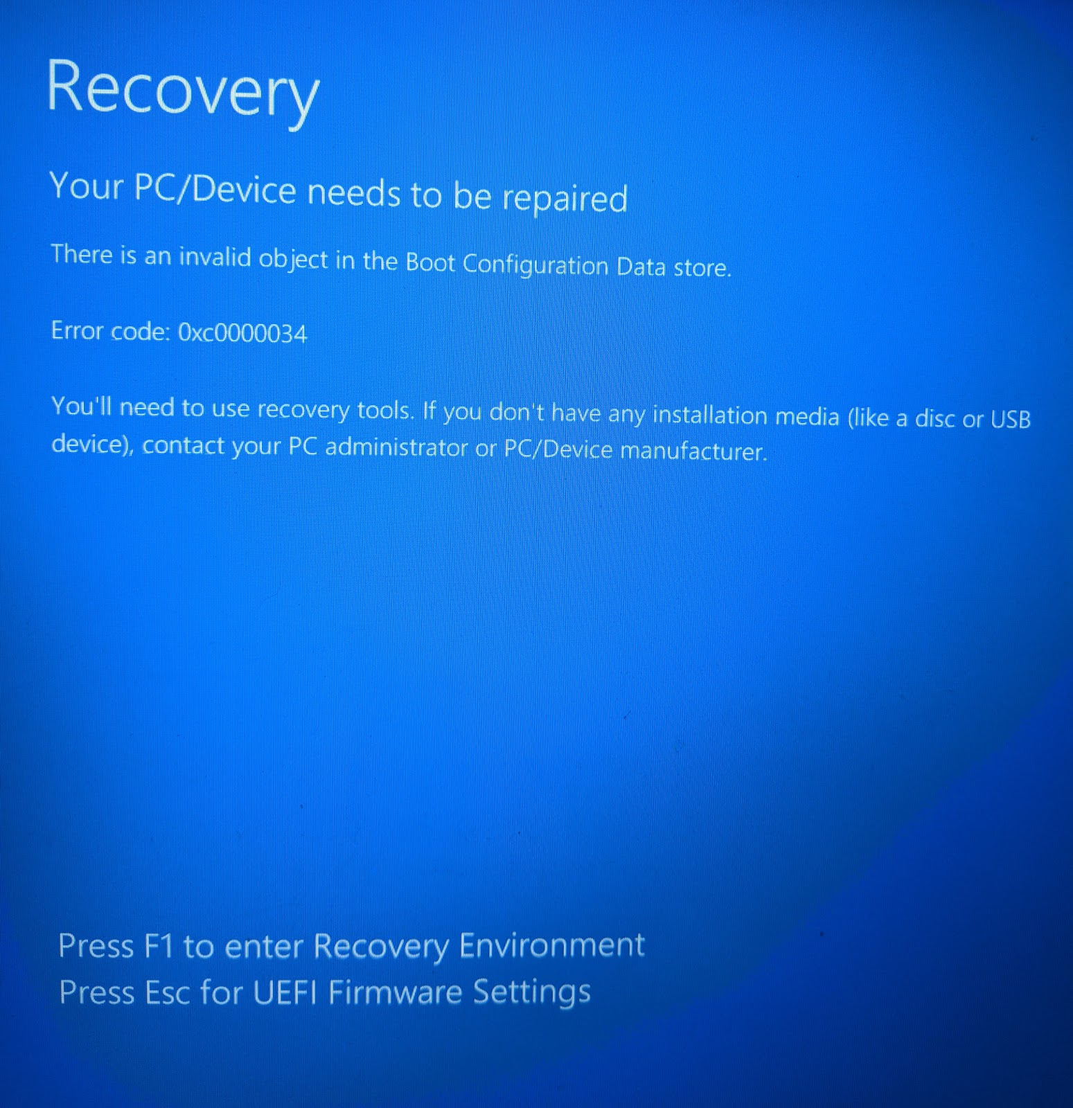 note79 - Tech Notes: Error Code 0xc0000034 : How to Fix a 'Boot
