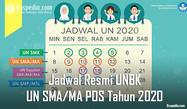 Jadwal Resmi UNBK dan UN SMA/MA Berdasarkan POS Tahun 2020