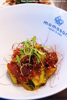 Zuke Maguro: Soy Marinated Tuna, Tataki Cucumber, and Taberu Rayu at Momosan