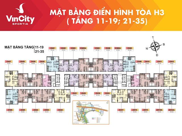 """ Mặt bằng Vincity Sportia tầng 11 -19, tầng 21 - 35"" tòa H3"