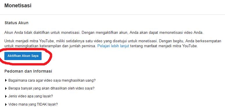 monetisasi akun youtube