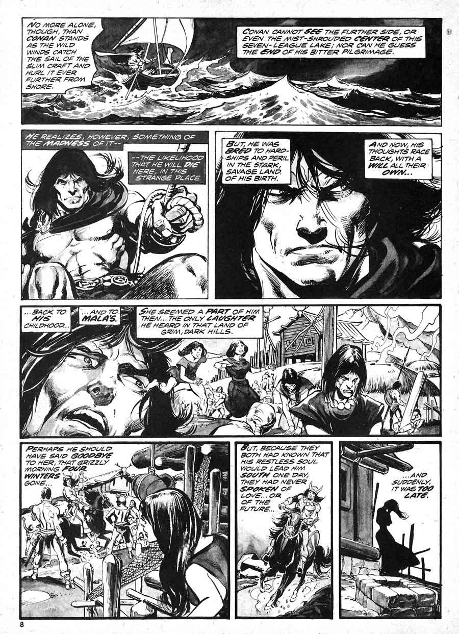 Savage Tales v1 #4 conan marvel comic book page art by Neal Adams