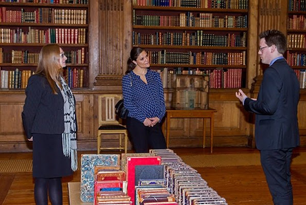 Crown Princess Victoria of Sweden visit The Bernadotte Library at the Royal Palace