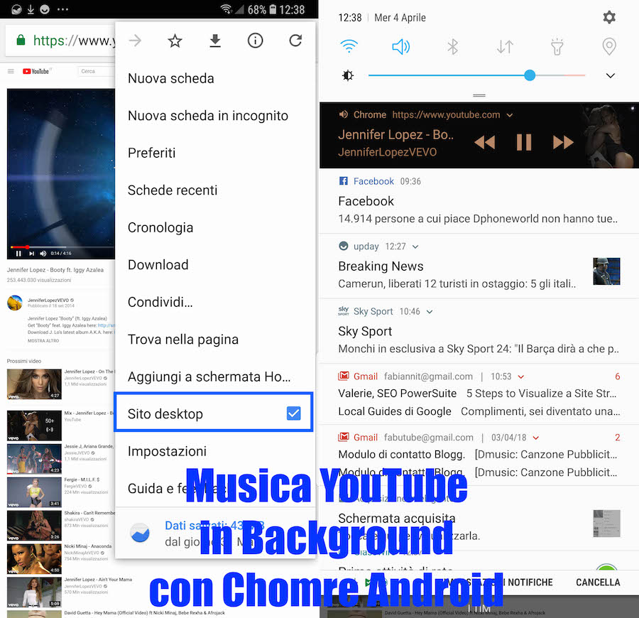 come riprodurre audio youtube in background su chrome android