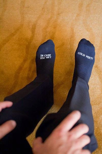 21 Insanely Fun Wedding Ideas - Give your groom a little something to keep those feet toasty warm