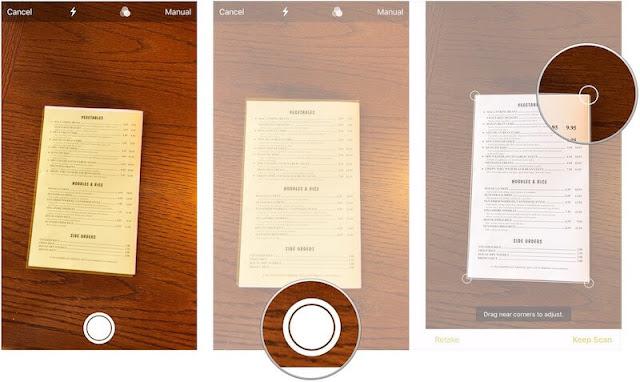 كيفية مسح مستند ضوئيا إلى تطبيق الملاحظات Notes في iOS 11