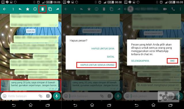 Hapus pesan whatsapp yang telah terkirim dalam jangka waktu lebih dari 7 menit - diatasi.com