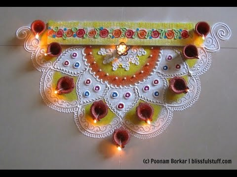 corner rangoli design for diwali innovative rangoli designs by Poonam Borkar