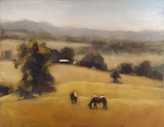 Landscape oil painting with two horses in the foreground with trees and rolling hills behind.