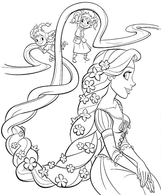Printable Free Disney Princess Rapunzel Coloring Sheets For Kids