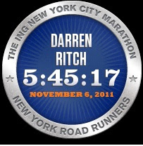 2011 ING NYC Marathon Finisher Badge