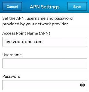 Vodafone Australia APN Settings for Blackberry Z20 Q10 Curve Bolt