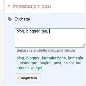 le etichette nei post su blogger