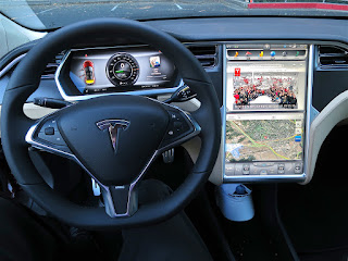 A Tesla Model S interior