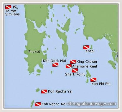 Puntos de buceo cerca de Phuket