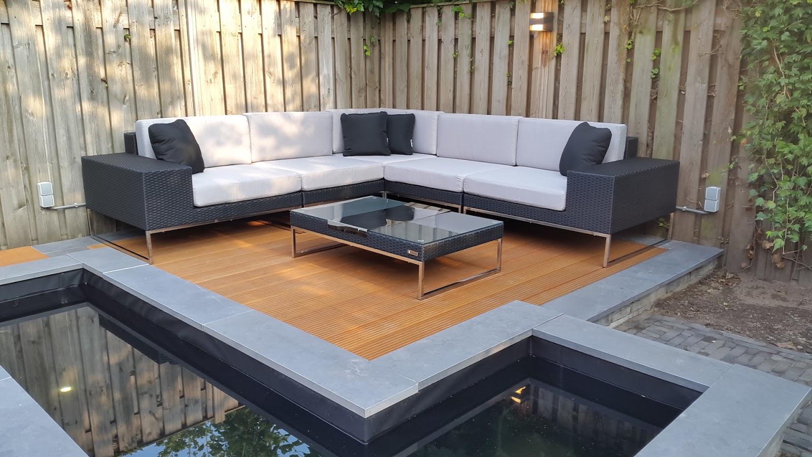 Arbrini design tuinmeubelen: loungeset lineo zwart wicker met rvs