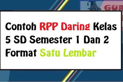 Download Contoh RPP Daring Kelas 5 SD MI Semester Ganjil Dan Genap Terbaru 2020/2021
