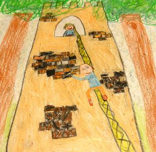 Desenho de criança feito com giz de cera. Rapunzel está na torre e o príncipe sobre usando a trança da princesa como corda. A torre está entre duas altas árvores.