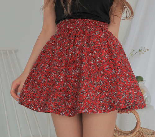 Flared Floral Mini Skirt