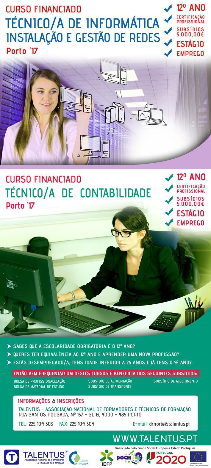 Cursos financiados: Contabilidade e Informática (Instalação e Gestão de Redes) – Porto 2017