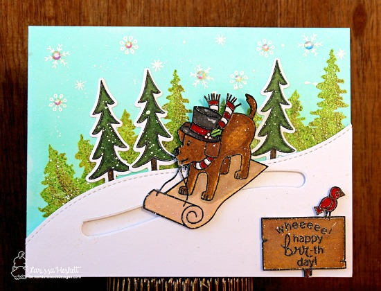 Christmas Favorites Week - Day 5  | Dog Slider Christmas card by Larissa Heskett | Stamps by Newton's Nook Designs #newtonsnook #christmascards