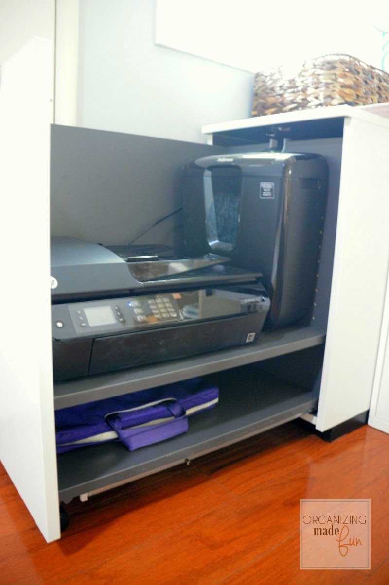 Printer unit in home office :: OrganizingMadeFun.com