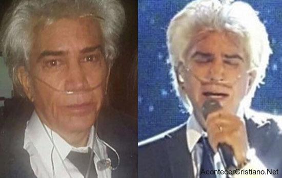 """José Luis Rodríguez """"El Puma"""" usando oxigeno para poder cantar"""
