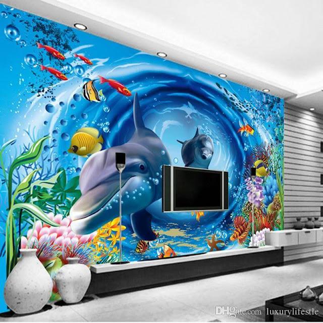tranh tường 3d phòng khách cá heo