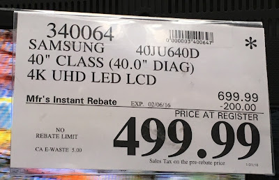 Deal for the Samsung UN40JU640D 40in tv at Costco