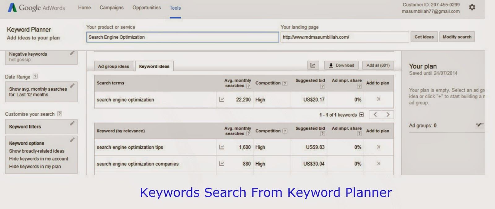 Keyword Search Idea