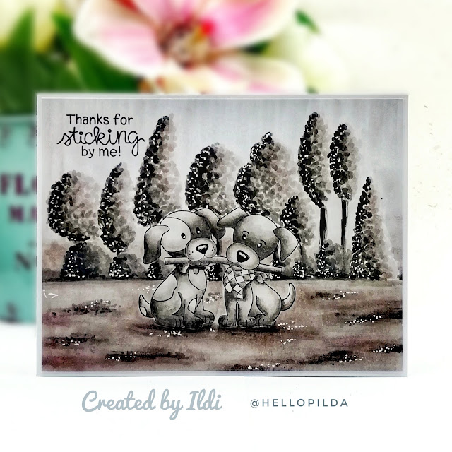 Thank You Card Duo by July Guest Designer Ildi Imrefalvi | Puppy Pals Stamp Set by Newton's Nook Designs #newtonsnook #handmade