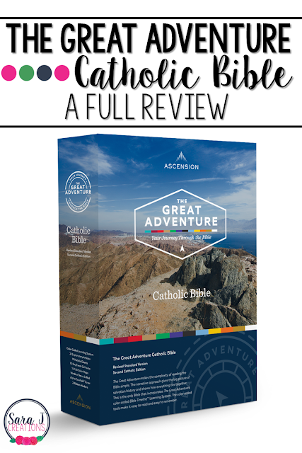 A review of The Great Adventure Catholic Bible. A color coded walk through salvation history makes this Bible perfect for Catechists, Catholic school teachers or anyone who wants to understand the history and overarching story in the Bible.