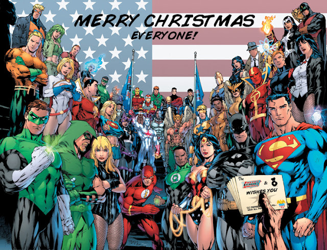 christmas superhero card