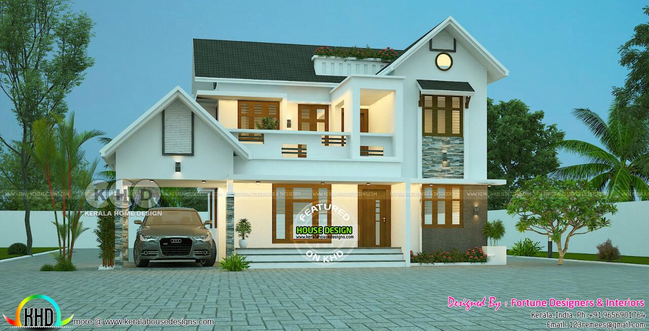 2400 Sq Ft 4 Bedroom Modern Mixed Roof Home Kerala Home Design Bloglovin