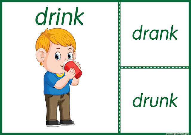 Irregular verb drink - printable ESL flashcards