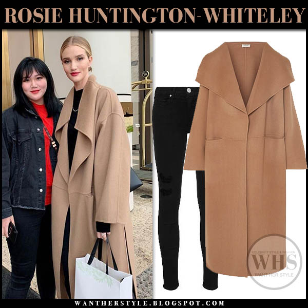Rosie Huntington-Whiteley in camel toteme oversized coat and black mcguire jeans winter celebrity style january 16