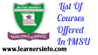 LIST OF COURSES OFFERED IN IMSU