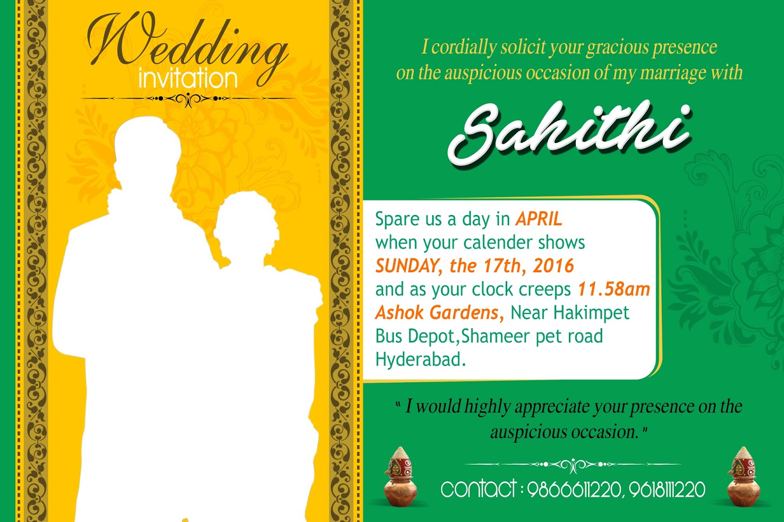 Indian Wedding Invitation Templates Online – Online Hindu Wedding Invitation Cards