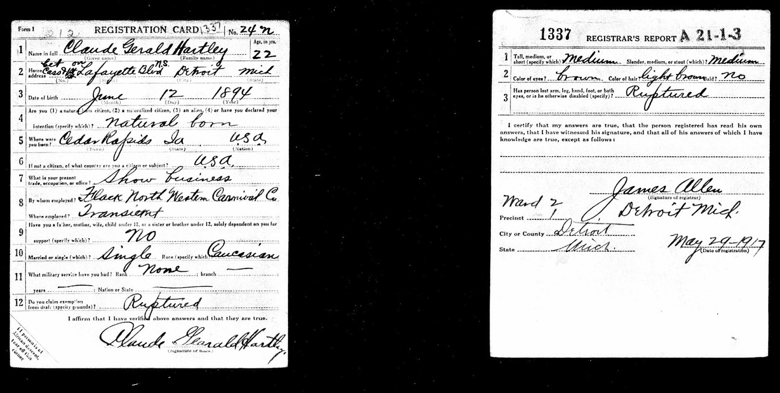 Ancestry island claude gearald hartleys body was sent to the he claimed exemption based on ruptured although what exactly was ruptured is not clear an examination of his death certificate reveals it aiddatafo Image collections