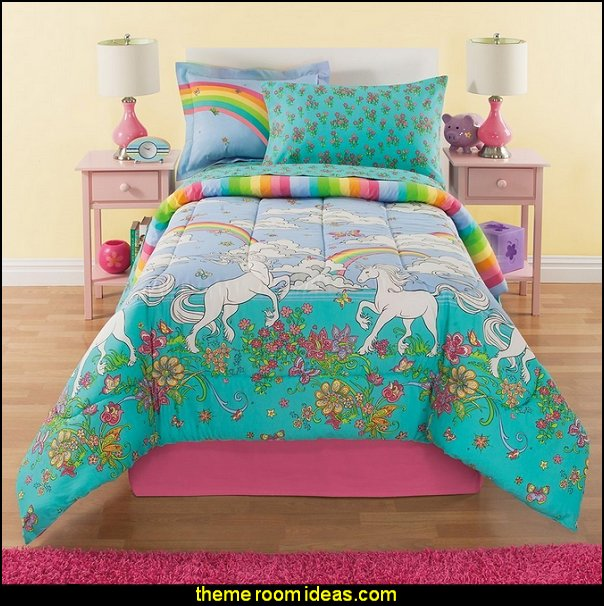 Rainbow Comforter Set Twin, Unicorn Reversible Bedding, Beautiful Allover  Flowers And Floral Pattern,