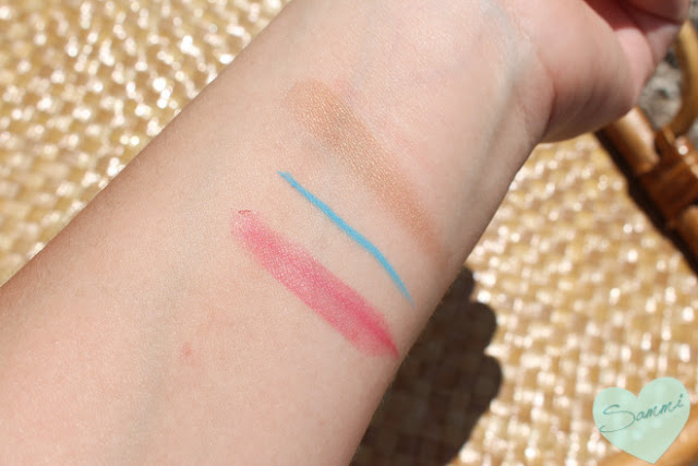 Bellapierre lipstick, Tini Beauty Eyeliner, Tarte Bronzer swatches
