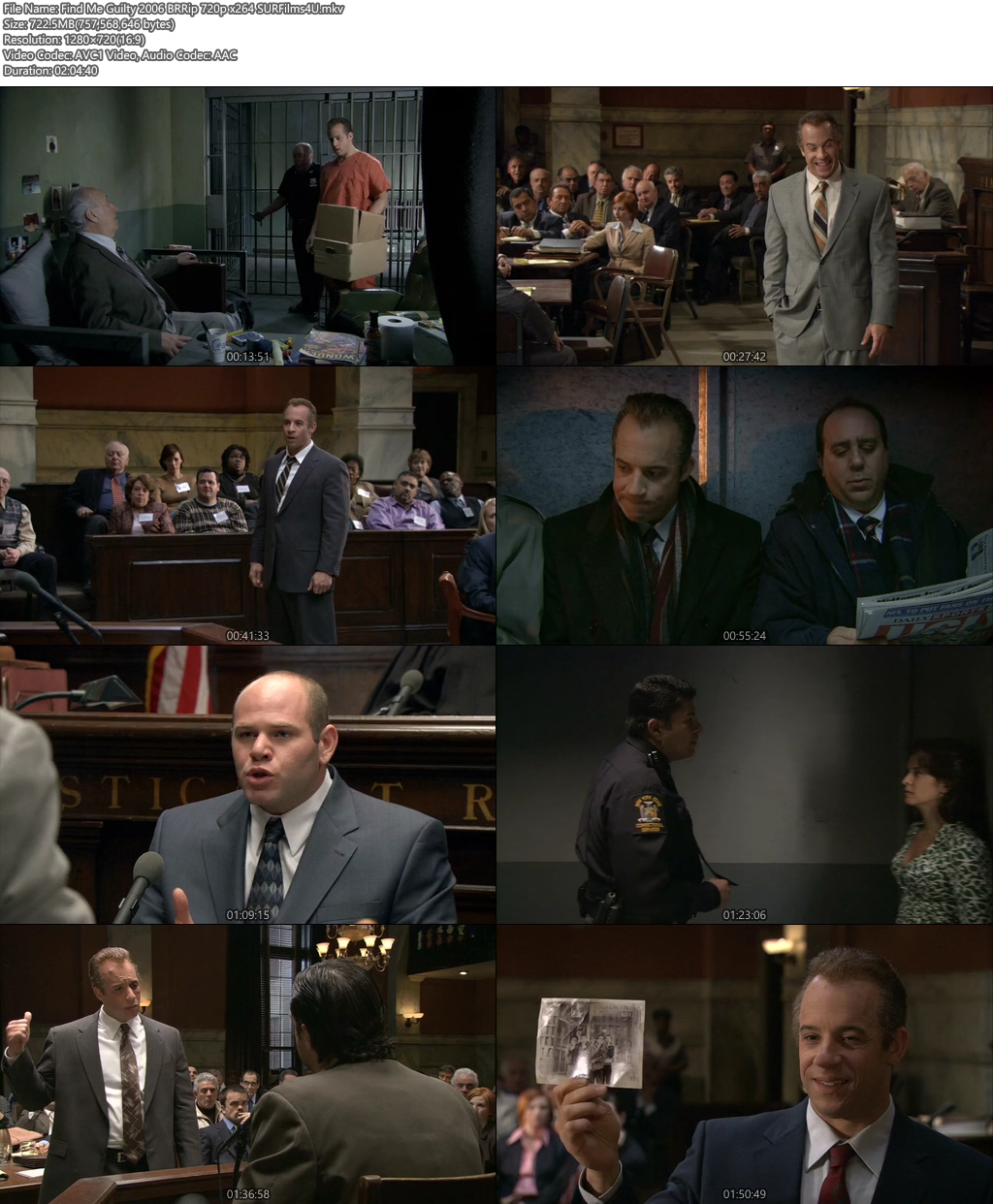 Find Me Guilty 2006 BRRip 720p 700MB x264 Screenshot