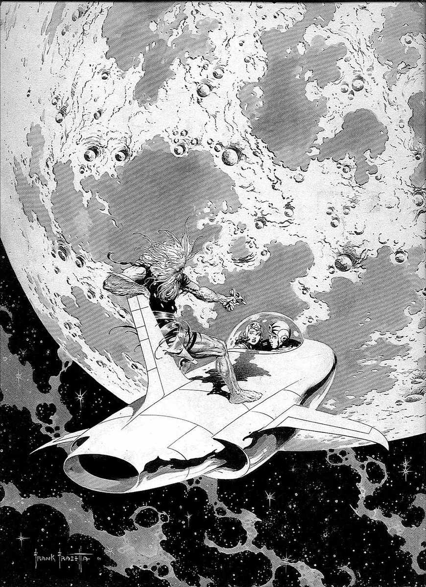 a Frank Frazetta illustration, space moon creature
