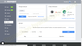 Tampilan menu Pengaturan/Settings | Tutorial - Cara mengaktifkan Google Authenticator di Hashnest