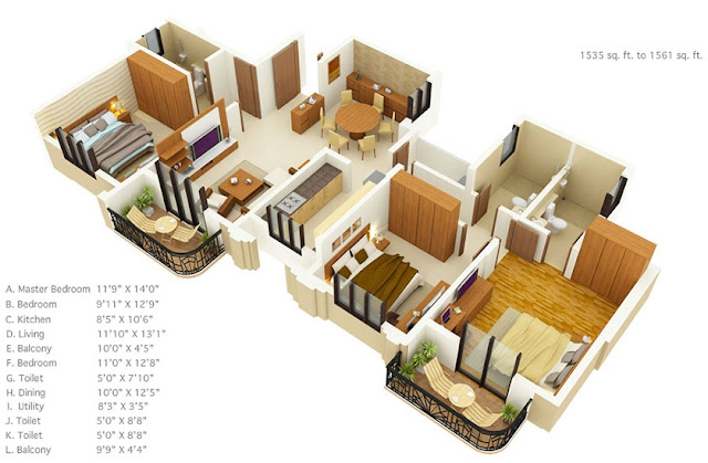 Wooden-artwork-on-wooden-board-for-house-floor-plan-designs-with-outdoor-balcony-three-bedrooms-and-three 2Bbathrooms