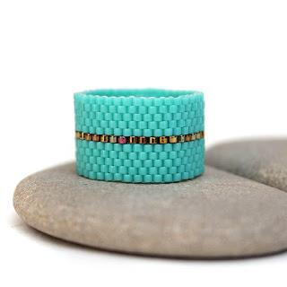 купить широкое женское кольцо стильные украшения из бисера